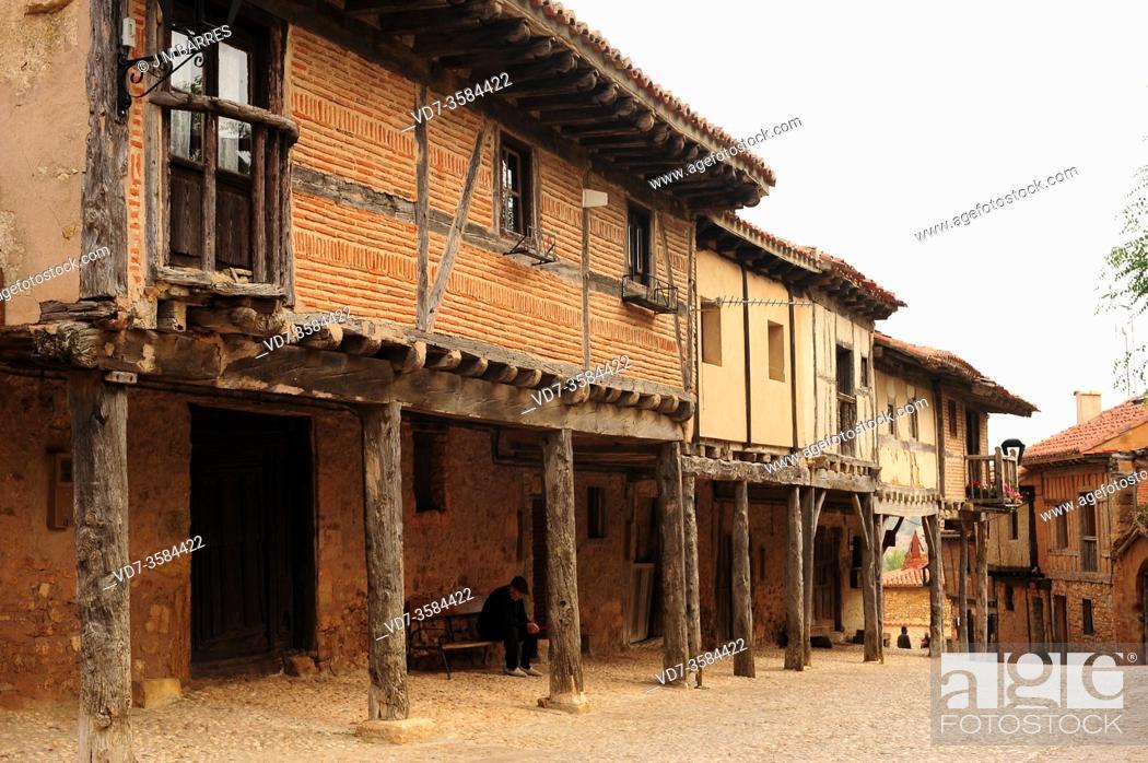 Stock Photo: Calatañazor, traditional brick, stone and wood house . Soria province, Castilla y Leon, Spain.
