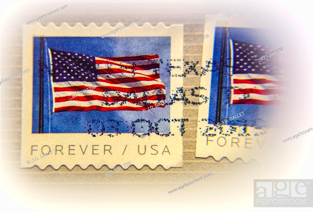 """Stock Photo: USA, """"""""Forever/ USA"""""""" on a stamp, ."""