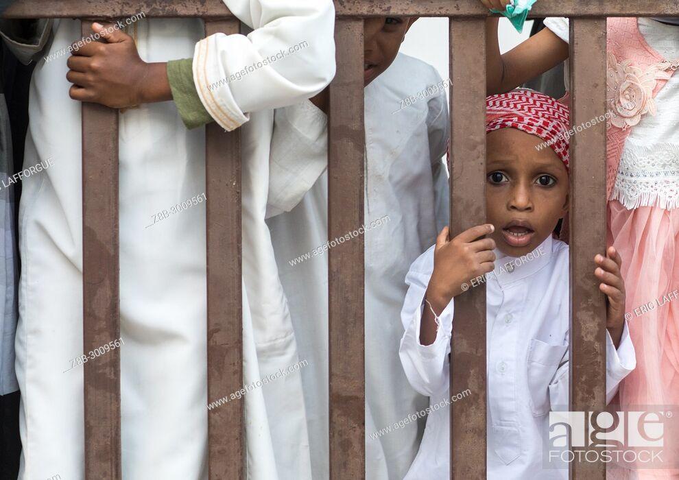 Stock Photo: Sunni muslim boy celebrating the Maulidi festivities, Lamu County, Lamu Town, Kenya.