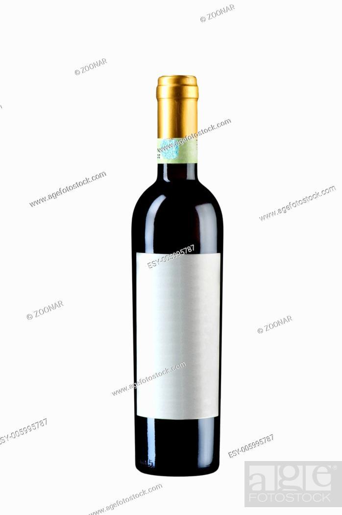 Stock Photo: unopened wine bottle isolated on white.