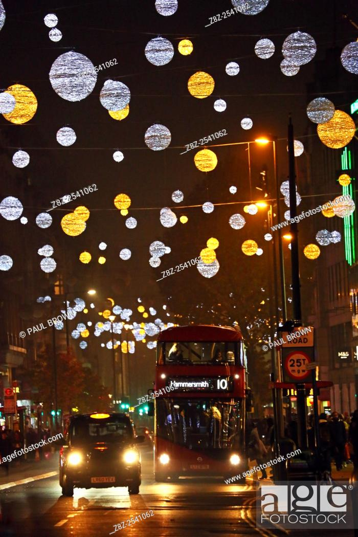 Stock Photo: Switching on Oxford Street Christmas lights and Xmas decorations in London but some failed to switch on immediately and only came on later.