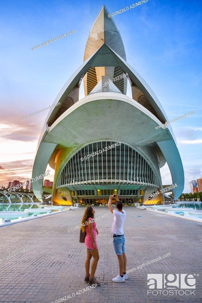 Stock Photo: Queen Sofia Arts Palace. City of Arts and Sciences . Palau de les Arts Reina Sofia. Architect Santiago Calatrava. Valencia. Comunidad Valencia. Spain.