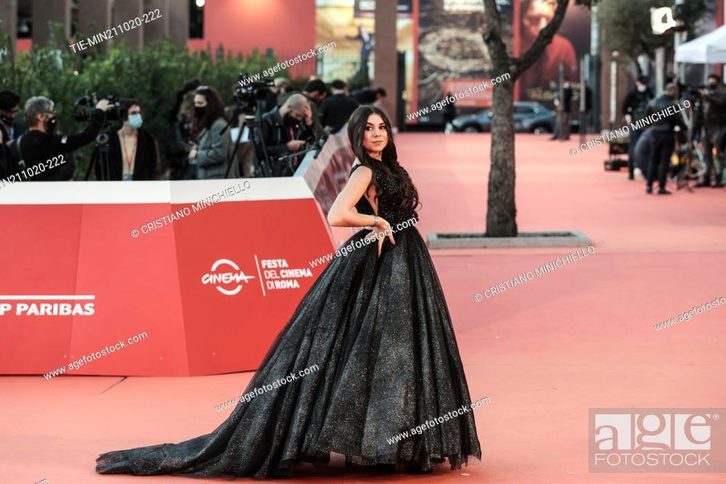 Stock Photo: Aurora Celli on Red carpet of film 'Maledetta primavera' at the 15th Rome Film Festival, Rome, ITALY-21-10-2020.