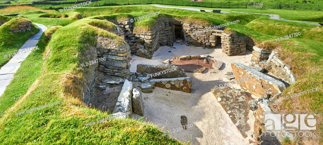 Stock Photo: The neolithic ( circa 2,500 to circa 2,000 BC) settlement of Skara Brae the best preserved groups of prehistoric houses in Western Europe.