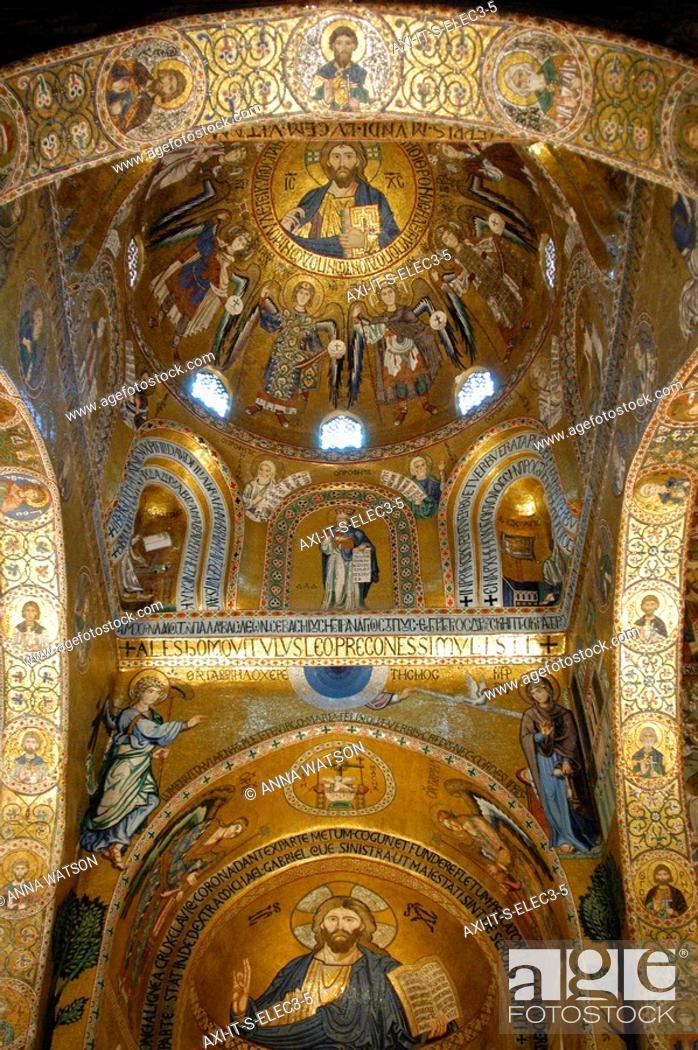 Stock Photo: Byzantine gold mosaics in Cappella Palatina chapel of Norman Palace.