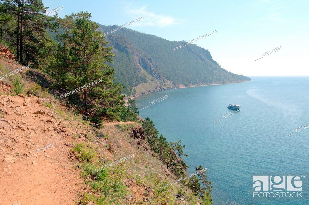 Stock Photo: The path over the lake, Bolshiye Koty, Lake Baikal, Siberia, Russian Federation.