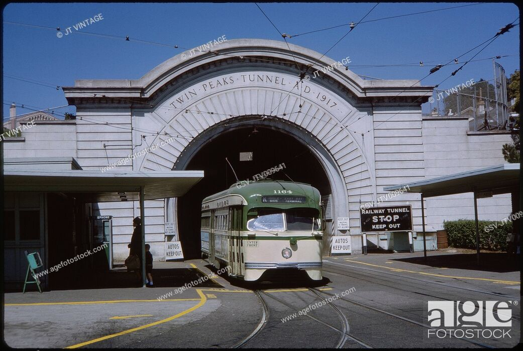 Stock Photo: Cable Car and Railway Tunnel, San Francisco, California, USA, 1963.