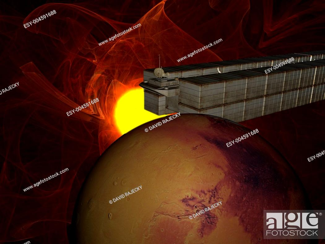 Stock Photo: Garbage ship in Sun system over mars.