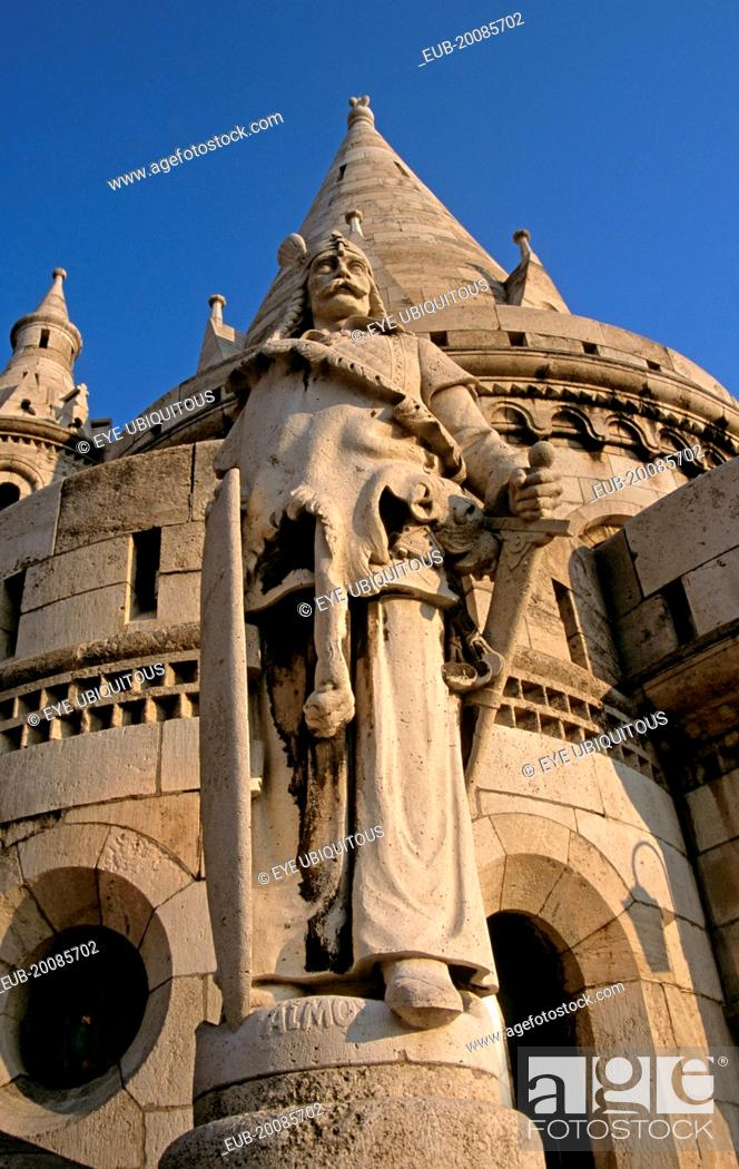 Stock Photo: Castle Hill District, Trinity Square, Fishermens Bastion, Saint Stephens (Szent Istvan) statue,.