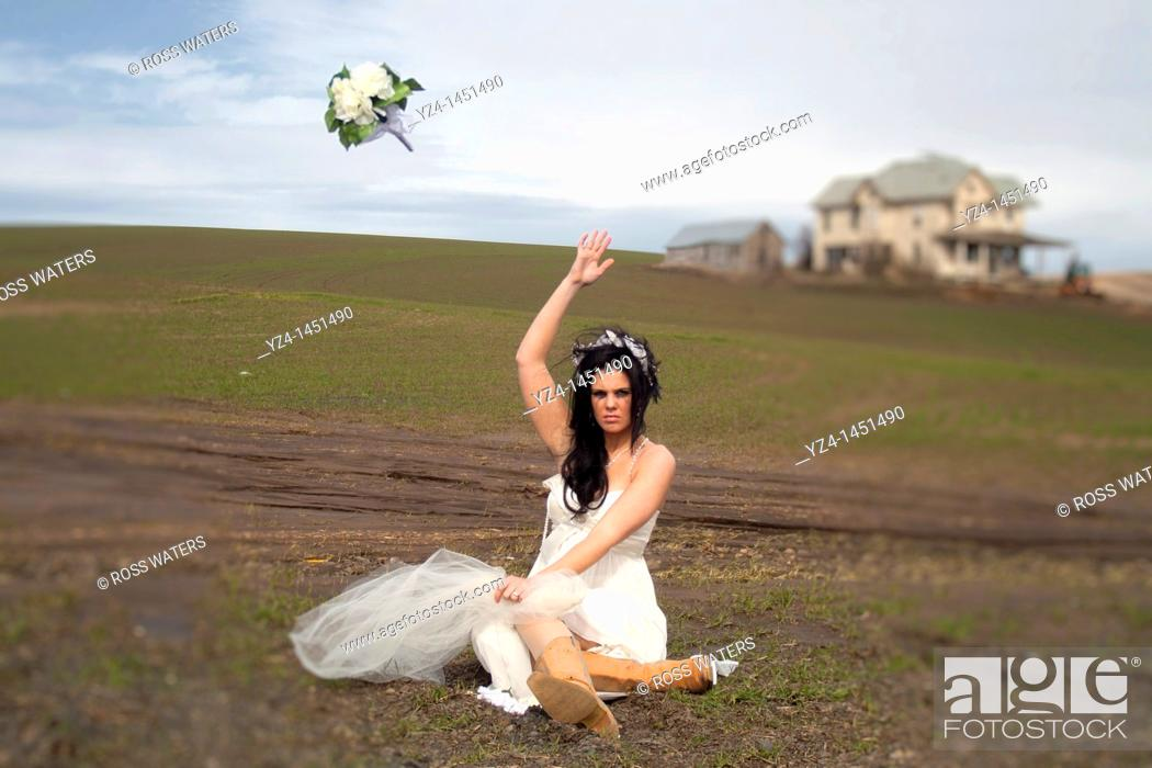Stock Photo: Young Bride on her Wedding Day.