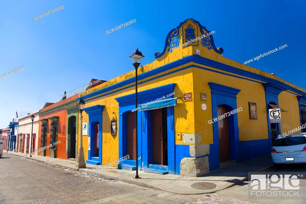 Stock Photo: Buildings in a street, Oaxaca, Oaxaca State, Mexico.