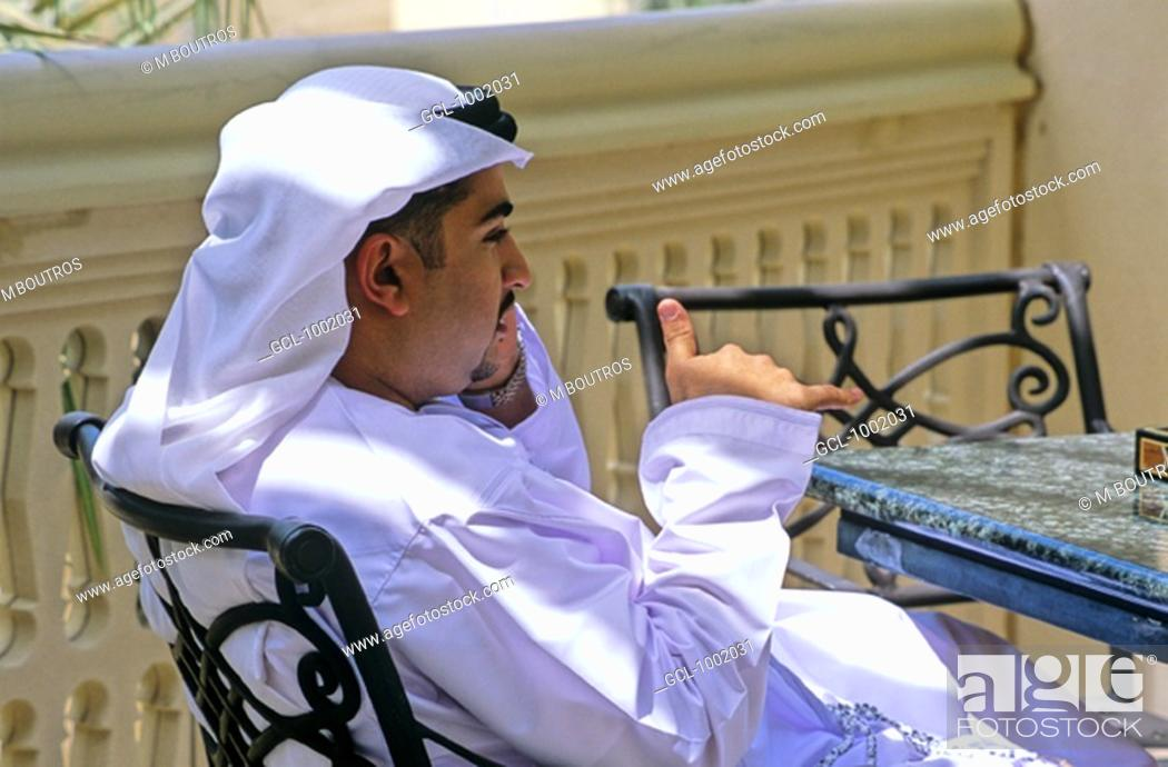 Stock Photo: Arab man speaking on the phone.