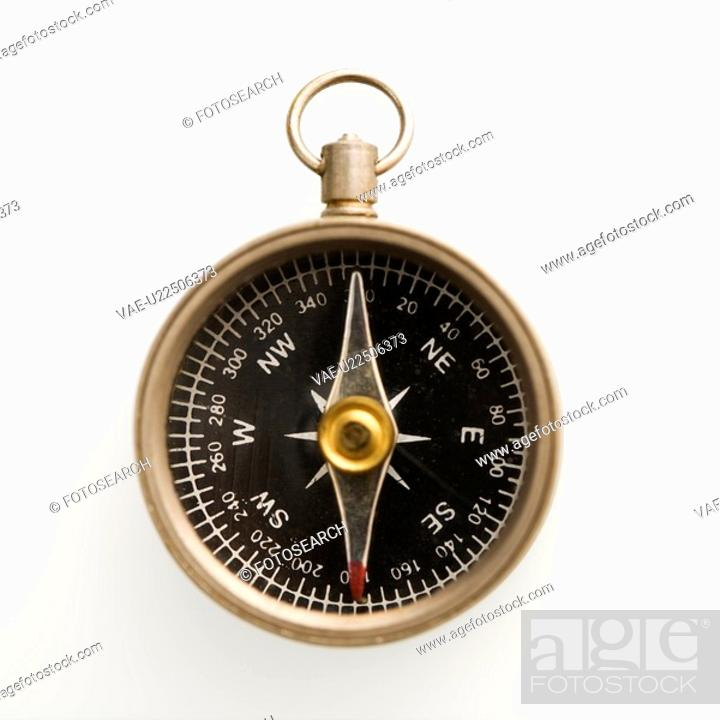 Stock Photo: Compass pointing north.