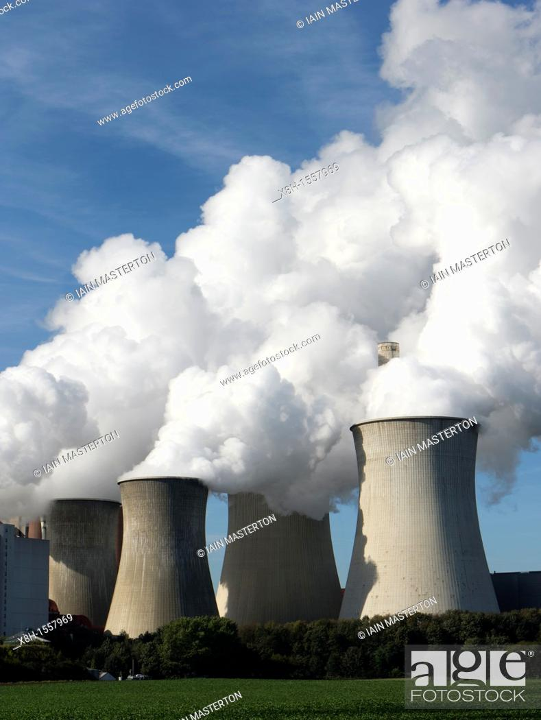 Stock Photo: Cooling towers at Neurath brown coal fired power station in North Rhine Westphalia in Germany.