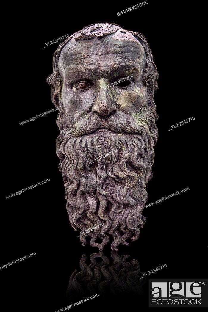 Stock Photo: The Riace bronze Greek statue head cast about 460 BC. Museo Nazionale della Magna Grecia, Reggio Calabria, Italy.