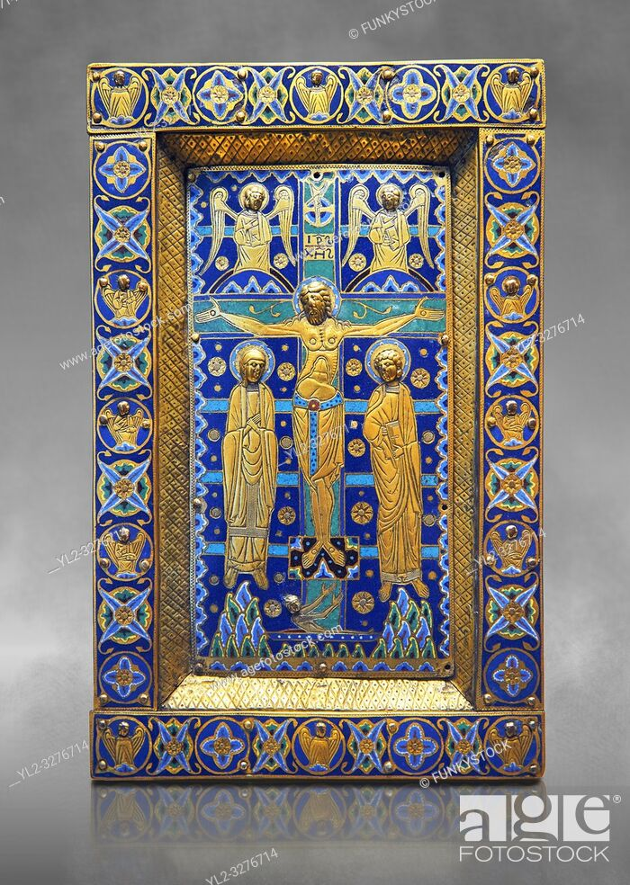 Stock Photo: Medieval enamelled panel depicting the Crucifixion, end of 12th cent from Limoges, enamel on gold. AD. Inv OA 7285, The Louvre Museum, Paris.