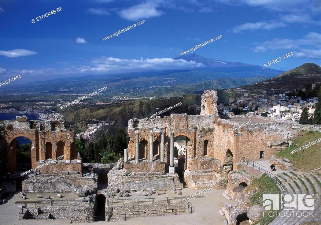 Stock Photo: Antique Amphitheater, Taormina, Sicily, Italy.