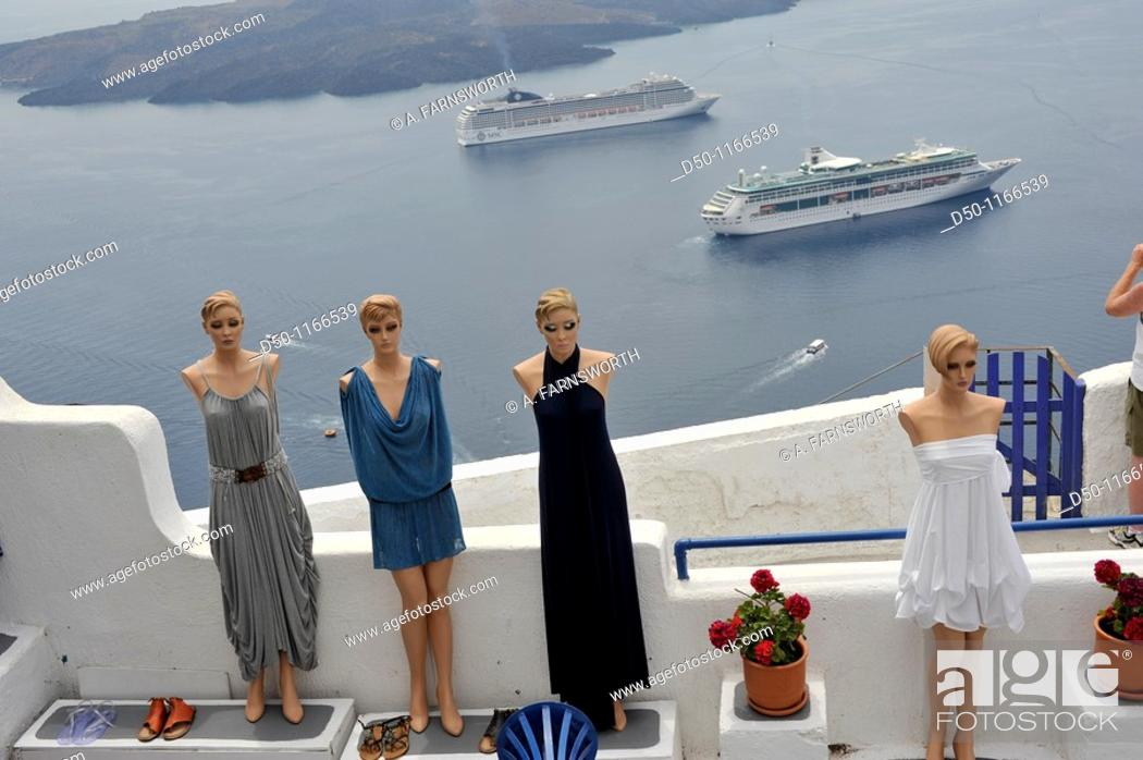 Stock Photo: Mannequins and cruise ships, Santorini, Greece.