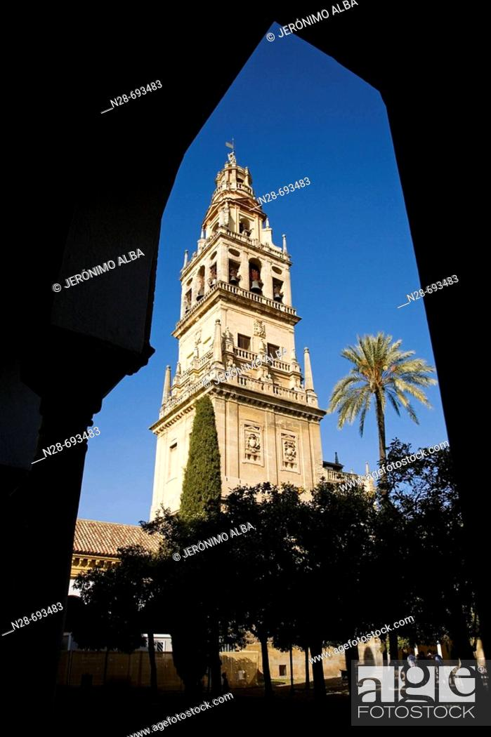 Stock Photo: Patio de los Naranjos, courtyard and minaret tower of the Great Mosque. Córdoba. Spain.