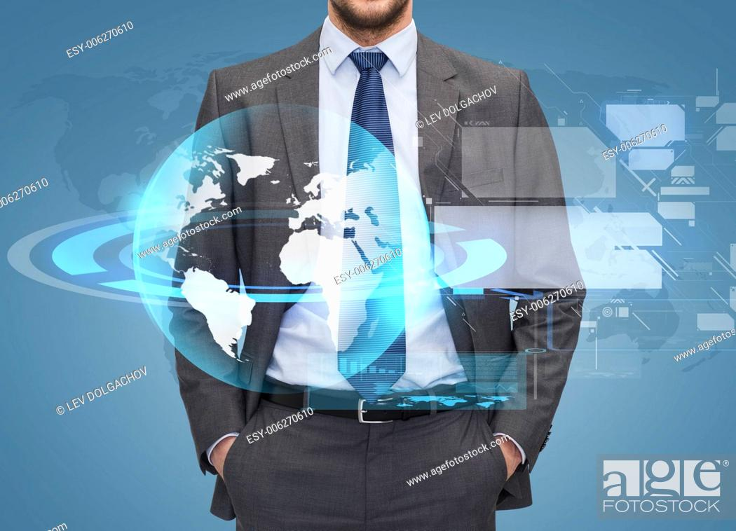 Stock Photo: business, people and global connection concept - close up of businessman over blue background with globe hologram and virtual screens.