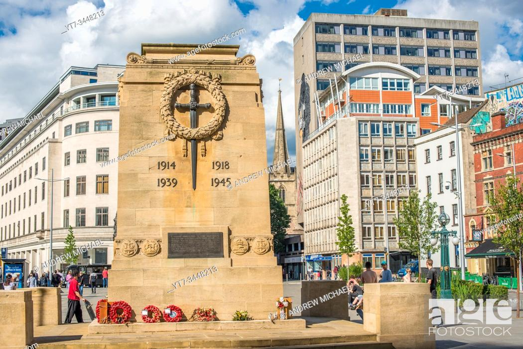Stock Photo: Bristol Cenotaph, World War II War Memorial, located in the City Centre as a memorial to those from Bristol who lost their lives. Avon, England. UK.