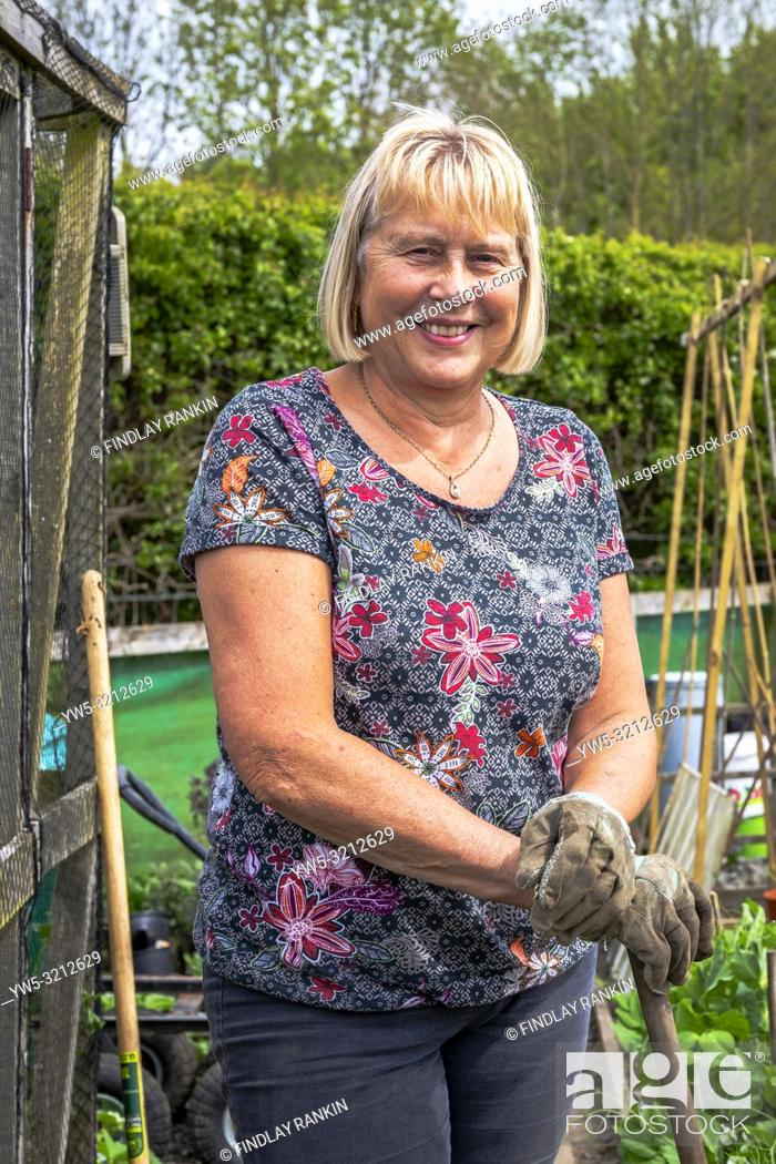 Stock Photo: Image of SUZANNE BLAKLEY, Plot 40 Eglinton Gardens, Kilwinning, Eglinton Growers Allotments, Kilwinning, Ayrshire, Scotland, UK.