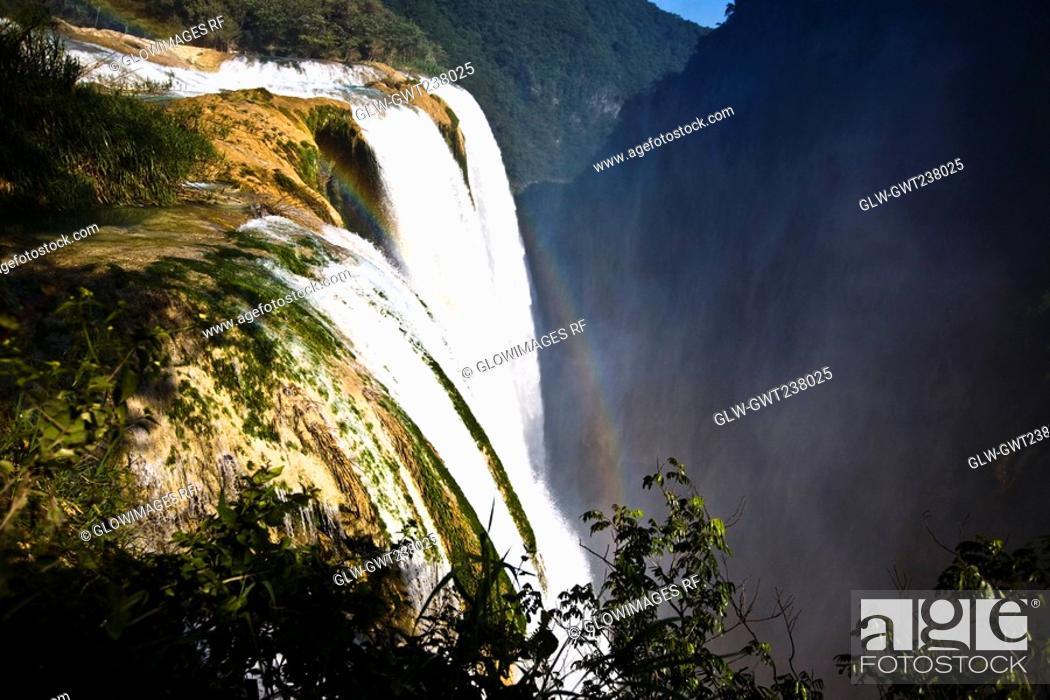 Stock Photo: Waterfall in a forest, Tamul Waterfall, Aquismon, San Luis Potosi, Mexico.