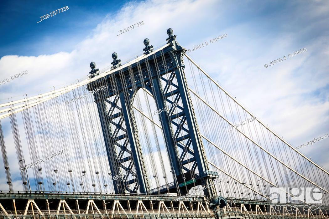 Stock Photo: New York City Manhattan bridge cityscape.