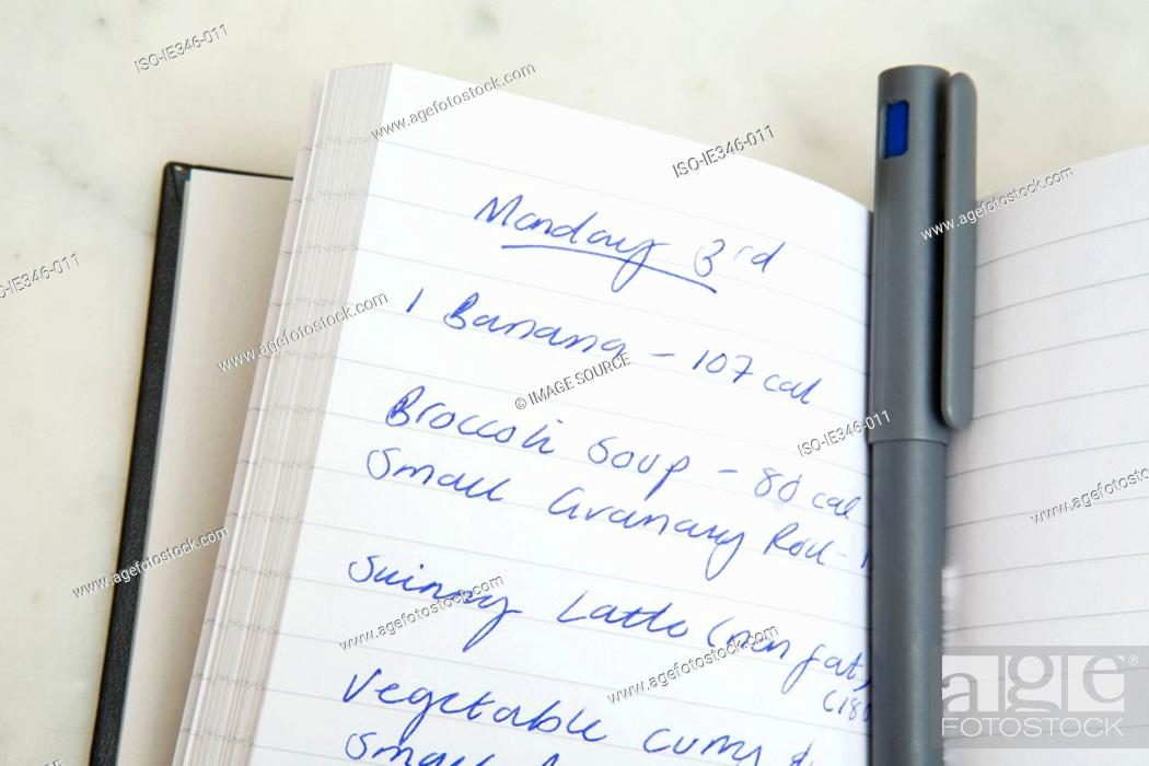 Stock Photo: Food diary and pen.
