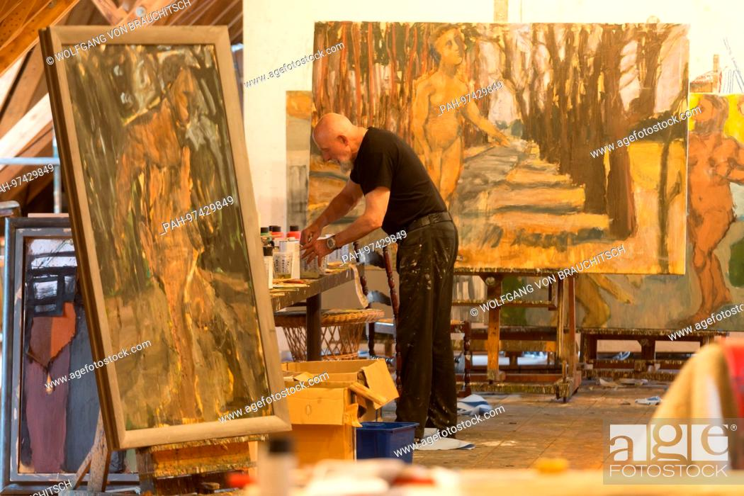 Famous German artist Markus Luepertz in his studio in