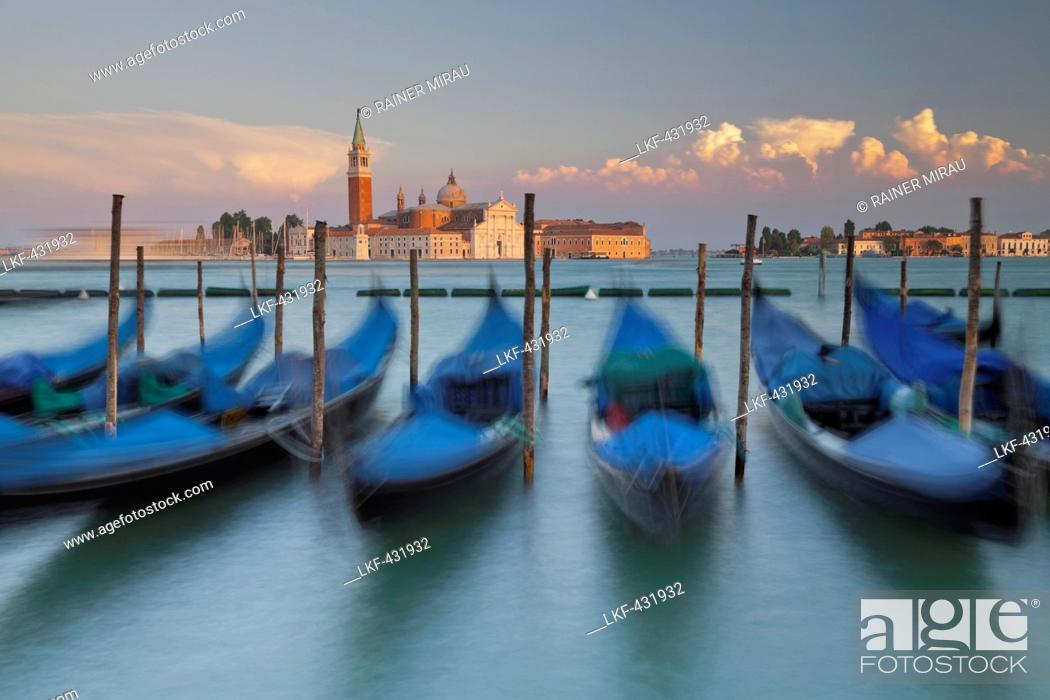 Stock Photo: Gondolas next to the Piazza San Marco, San Giorgio Maggiore, San Marco, Venice, Italy.