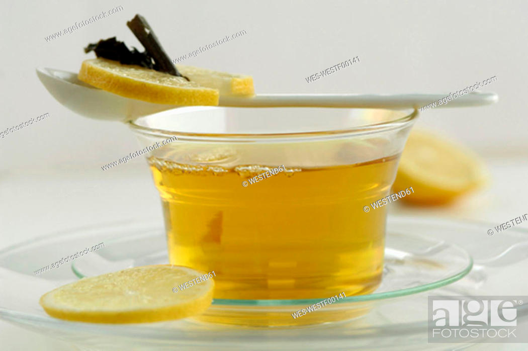 Stock Photo: Cup of green tea with lemon.