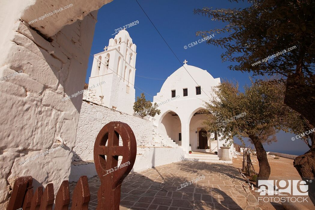 Stock Photo: Framed view to the Panagia Kimissis church by the cliff, Folegandros, Cyclades Islands, Greek Islands, Greece, Europe.
