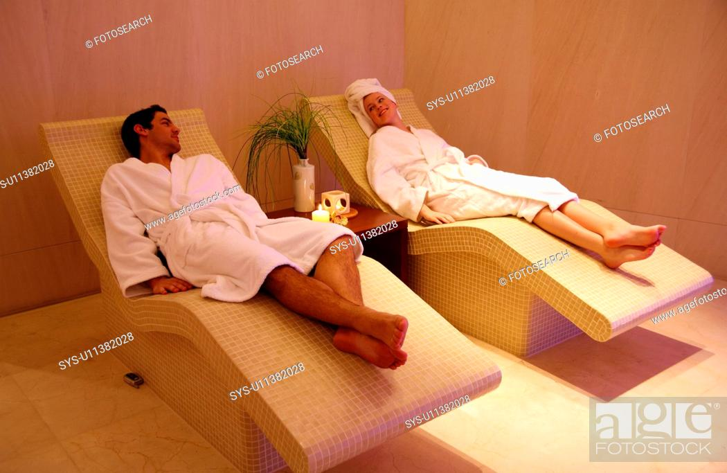 Stock Photo: A couple relaxing at a spa together.