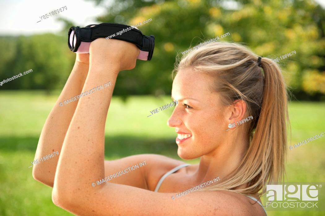 Stock Photo: Woman exercising.