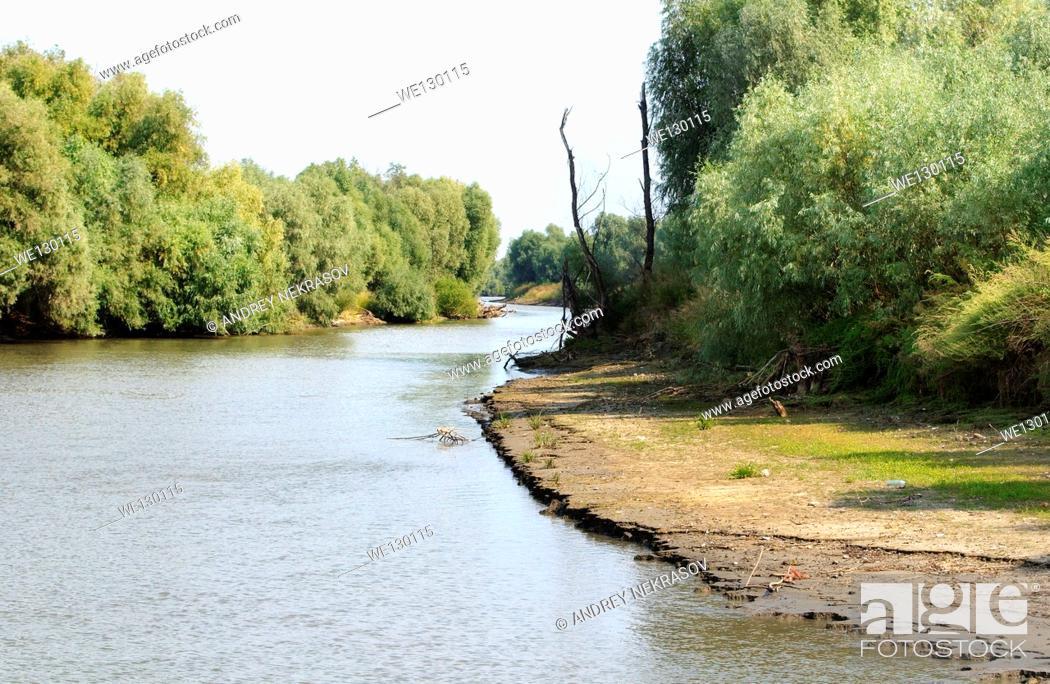 Stock Photo: River landscape, Danube, Tulcea, Romania, Europe.