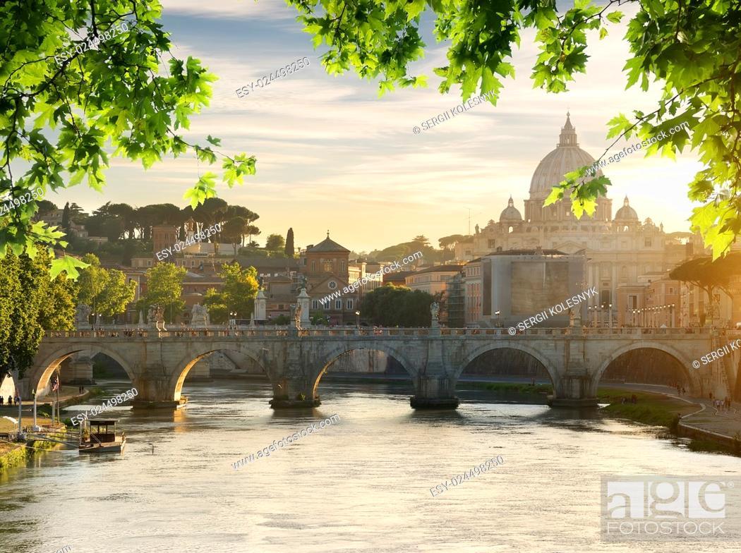 Stock Photo: Bridge of Saint Angelo near Vatican at sunset.
