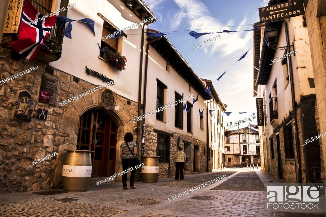 Stock Photo: Streets of Covarrubias in Burgos, Spain.