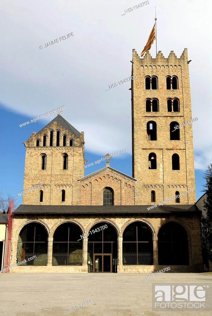 Stock Photo: Monastery of Santa Maria de Ripoll IXth century, Ripoll, Ripollès, Girona, Catalonia. Espanya.