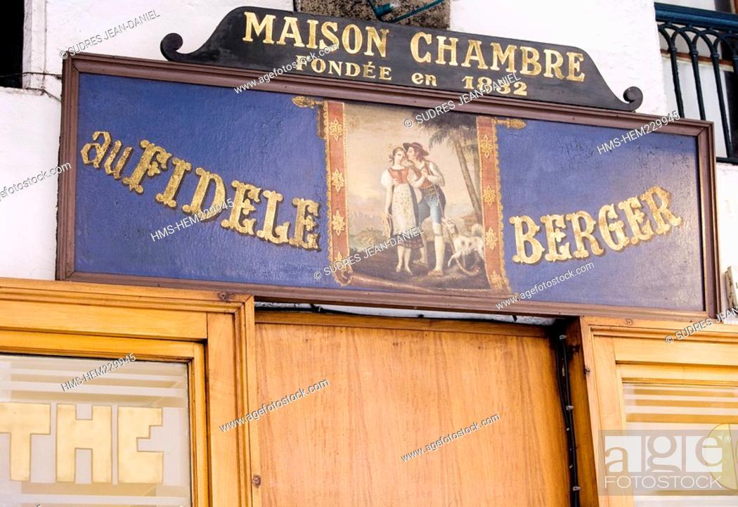 Stock Photo: France, Savoie, Chambery, Au Fidele berger pastry shop in 15 rue de Boigne, sign detail.