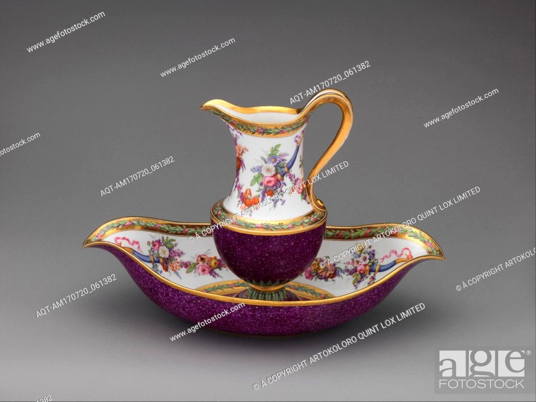 Stock Photo: Ewer and basin, 1795, French, Sèvres, Hard-paste porcelain, Height (ewer): 10 in. (25.4 cm); Width (basin): 15 3/4 in. (40 cm), Ceramics-Porcelain.