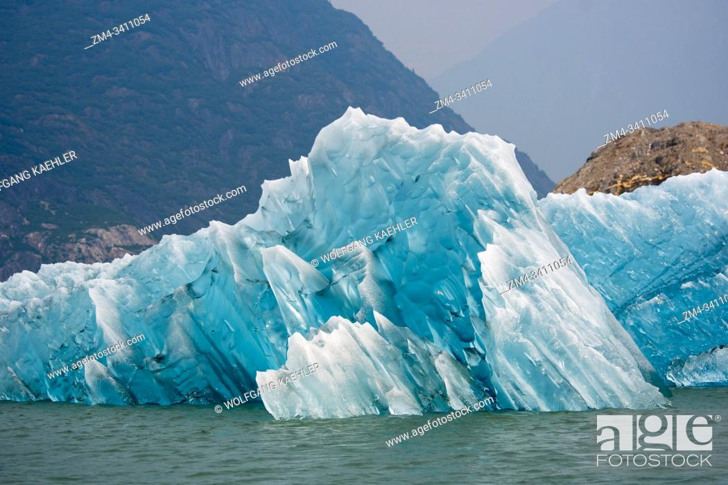 Stock Photo: Icebergs in front from the of the Sawyer Glacier floating in Tracy Arm, a fjord in Alaska near Juneau, Tongass National Forest, Alaska, USA.