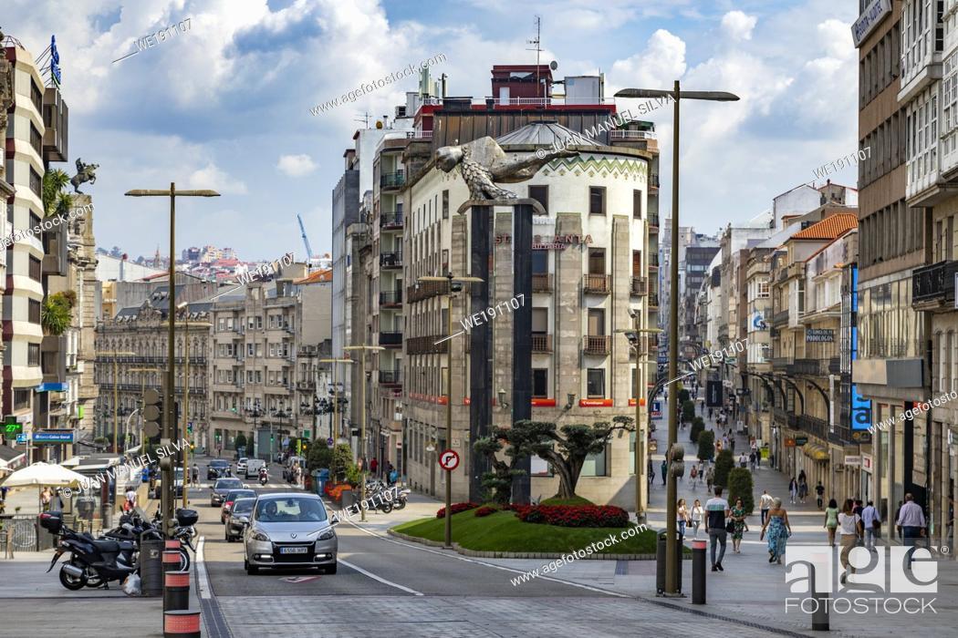 Stock Photo: People walking on Plaza Porta Do Sol, Vigo, Pontevedra, Galicia, Spain.