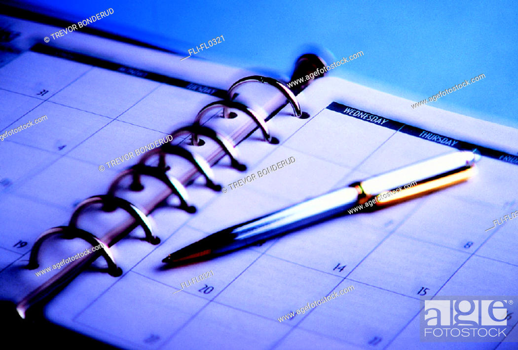 Stock Photo: Day Timer and Pen.