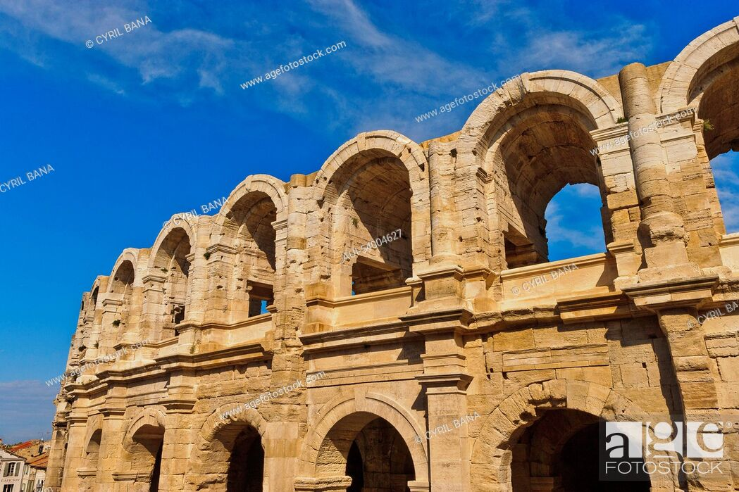 Stock Photo: France, Roman amphitheatre, arcades, exterior view.