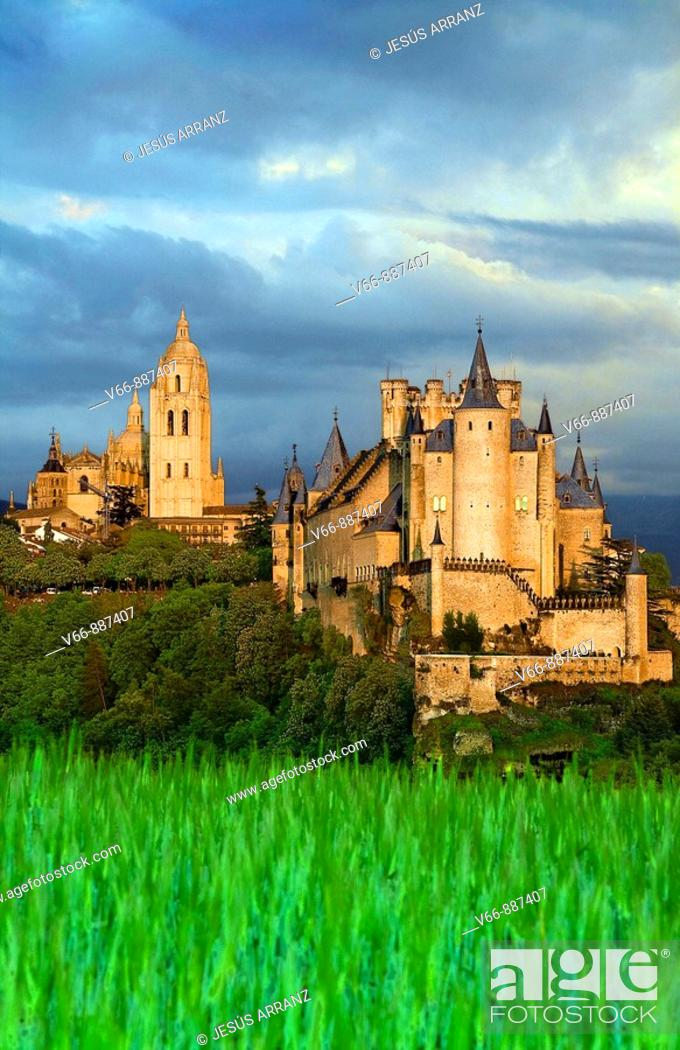 Stock Photo: Alcazar and Cathedral of Segovia.