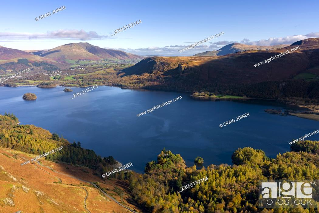 Stock Photo: View over Manesty Park and Derwent Water from Maiden Moor in the Lake District National Park, Cumbria, England.