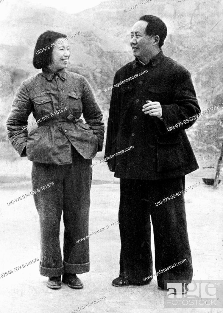 Mao zedong with his wife, jiang qing mme, mao about 20, Stock ...