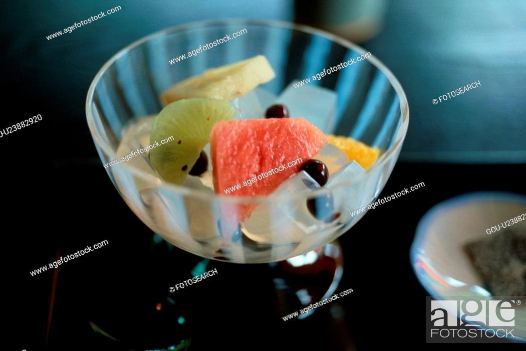 Stock Photo: Fruit Dessert In Glass Bowl.