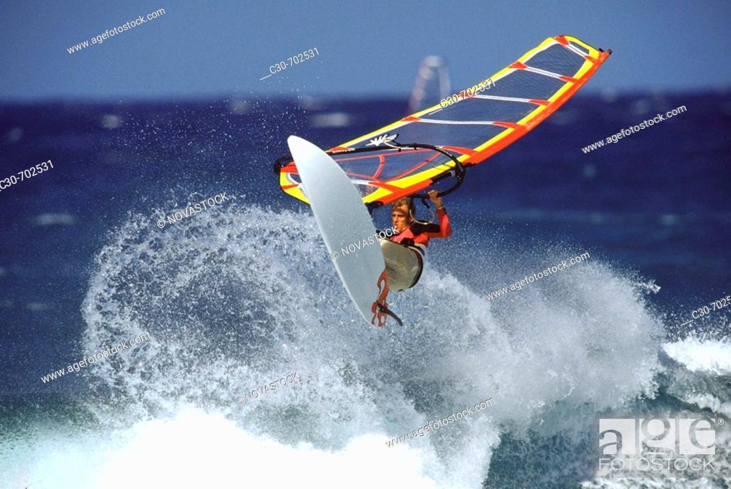 Stock Photo: Windsurfing  Maui, Hookipa Beach, Hawaii, USA.